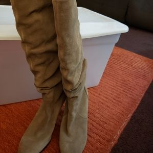 Women tall suede tan boots